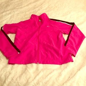 Nike Pink Light Weight  Zip Up Jacket With Pockets